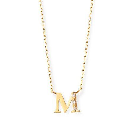 エステールのK18 イエローゴールド ダイヤモンド イニシャル ネックレス(M)。ダイヤモンドがきらめくイニシャルネックレス。<br>クラシカルな書体のイニシャルが、甘すぎず大人の女性らしい魅力を引き立ててくれそうです。<br>アレンジのしやすいシンプルなデザインなので、ご自分へのご褒美や贈り物にもおすすめです。<br><br>こちらのネックレスは12種類のイニシャルからお選びいただけます。<br>※A、C、E、H、K、J、M、N、R、S、T、Yをご用意いたしました。<br><br>ダイヤモンドは4月の誕生石です。石言葉は「清浄無垢」「永遠の愛」。<br>心身を浄化し周囲にある邪気を払ってくれる力があるとされています。<br>最大の幸福を呼び込むサポートとなってくれそうです。<br><br>【ATTENTION】<br>※熱や紫外線、湿度の影響により変色や変質、劣化の恐れがございます。<br>直射日光の当たらない場所での保管をお願いいたします。<br>ご使用後は柔らかな布で汚れを拭き取ってから保管してください。<br>※天然石は素材の特性により、色や形、風合いなどが画像と多少異なる場合がございます。<br>また、多少のインクルージョンやクラックがある場合がございます。予めご了承ください。<br>※強い力を加えると変形の原因になりますのでご注意ください。[型番:0344-1903-0019]