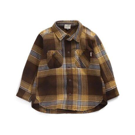 エフオーオンラインストアのシャツ。F.O.KIDS(エフオーキッズ)のシャツ・ブラウス「シャツ」で、アメカジテイストにユーズド感を加えた風合いあるデイリーカジュアルスタイルを楽しもう!アメカジテイストの子供服・ベビー服ならF.O.KIDSにおまかせ!<お取り扱いのご注意> この商品はユーズド感を出す為、製品洗い・製品染め・ブリーチ(脱色)・生地切れ・糸切れ等の2次加工を施しております。製品の特性上1枚ずつの加工となり、多少の歪み・シワ・色の出方・風合い・サイズ等1枚ごとに微妙に違います。着用や洗濯を繰り返すことにより加工が徐々に進行し、あたり・ほつれなどが表れます。以上の点をご留意の上、他の製品では味わえない雰囲気をお楽しみ下さい。#FOKIDSMART【サイズ情報】80:着丈38 身幅31 肩幅26 袖丈26 袖口幅890:着丈40 身幅32 肩幅27 袖丈28.5 袖口幅895:着丈42 身幅33 肩幅28 袖丈30 袖口幅8.5100:着丈44 身幅34 肩幅29 袖丈32 袖口幅8.5110:着丈47 身幅36 肩幅31 袖丈36 袖口幅9120:着丈50 身幅38 肩幅33 袖丈40 袖口幅9130:着丈53 身幅40 肩幅35 袖丈44 袖口幅9.5140:着丈57.5 身幅42 肩幅37 袖丈48 袖口幅9.5※商品により多少の誤差が生じる事がございます。あらかじめご了承下さい。※サイズは、平置きの状態で、商品の【外寸】を測定した物です。[型番:R108021]