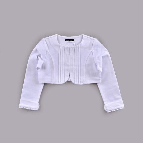 """べべ(BeBe)のハシゴ レース リップル ポンチ ジャケット (110cm~130cm)。凹凸のある質感が表情豊かなリップルポンチを使用した女の子用ショートジャケット。フロントにタックを入れて、きちんと感のある清楚な雰囲気に仕上がりました。袖口にソフトサテンをあしらって、ロールアップした時にもさりげなく女の子らしさをプラス。ボレロ丈でワンピースとも好相性です。カッチリとした品の良い印象でありながら、やわらかく着心地が良いのも魅力。ご入卒や結婚式、発表会などのセレモニーシーンに、1枚持っていると重宝します。【BeBe(べべ)】""""LOVE MODERN"""" 少しおませで、生意気なヨーロピアンカジュアルの提案。時代性・流行性をとらえ、ベーシックでもワンポイントを施した遊び心、楽しさを盛り込んでいます。 シンプルだけど、こだわりのあるオリジナリティーを重視しています。[型番:1105-20559]"""