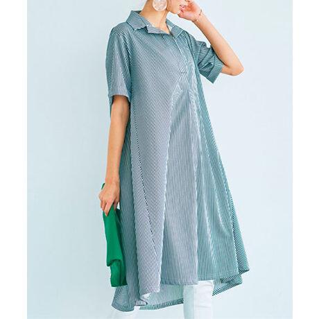 ラナンのゆるシルエットシャツ風カットソーチュニック柔らかくしなやか、まるでシャツ生地のようにきれい見えする素材を仕立てたスキッパーシャツ。長めのゆったりシルエットは、着るだけで今どきに。※商品によって柄の出方が異なる場合があります。(ストライプ)※身丈前後差約6cm[型番:715863]