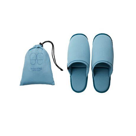 ミレストのMILESTO UTILITY 洗える携帯スリッパL機能的に使えるウォッシャブルスリッパ飛行機内や旅先で汚れても、洗って繰り返し使える軽やかでやさしい履き心地のトラベルスリッパ(約27cm)。持ち運びに便利な収納ポーチ付き。[型番:7642136]