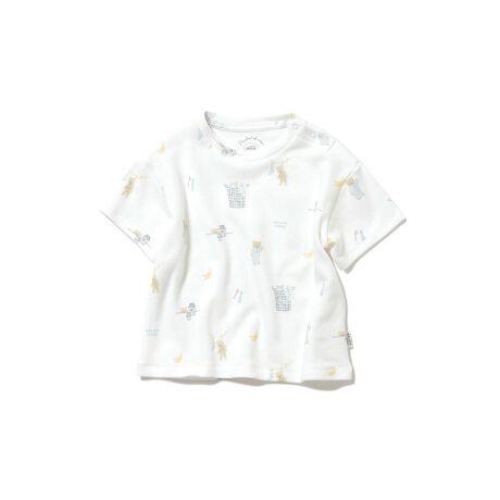 [型番:PBCT211460]<b>【キュートなモーニングベアを描いたベビーTシャツ】</b> <b>【Design/Styling】</b>パジャマを着たテディベアと朝ごはんのバナナ、お洗濯や歯みがきなど、テディベアが過ごす爽やかな朝を描いたベビーTシャツ。ふんわり柔らかな生地とゆったりとした身幅で心地良く仕上げ、肩のスナップボタンでお着替えも簡単です。おそろいのロングパンツを合わせれば、HAPPYなセットアップが完成。ママ・キッズラインもご用意しているので、親子リンクのコーディネートをお楽しみください。<b>【Fabric】</b>空気を含んだように柔らかなカットソー素材を使用しました。オフホワイトとピンクの2色展開です。※商品画像はサンプルのため、色味やサイズ等の仕様に変更がある場合がございますので、予めご了承ください。※照明の関係により、実際よりも色味が違って見える場合があります。またパソコン・スマートフォンなどの環境により、若干製品と画像のカラーが異なる場合もございます。予めご了承ください。商品の色味は、商品単品画像をご参照下さい。