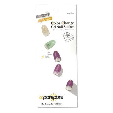[型番:120789]太陽光(紫外線)に反応して色が変化する新しいネイルシール。爪に貼って長さを整えるだけでサロンクオリティのネイルが完成。貼り付け後の硬化など特別な作業は一切必要ありません。色の変化度合いで紫外線チェックにもご活用頂けます。