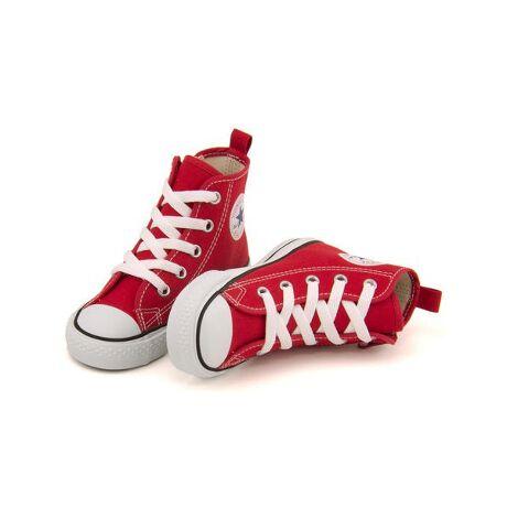 コンバース(アスビー)のconverse コンバース CHILD ALL STAR N Z HI キッズスニーカー チャイルドオールスターNZHI 3CK548キッズ用オールスター ハイカット☆ お子さまの足を考えた、履き心地の良い設計。足先ひろびろのルーミーラストや、しなやかに曲がるフレックスソール、清潔に保つ抗菌カップインソールなど、キッズの足を優しくサポートします。また中敷を取り外して足型を合わせ、サイズ交換目安が目で見て分かる「フィッティングチェッカー」仕様の中敷きなど、機能も充実◎ レースアップデザインですが、サイドジップ付きで脱ぎ履きもラクラクです♪ 兄弟姉妹でお揃いコーデできるベビーモデルもご用意しています♪[型番:8152809271204]