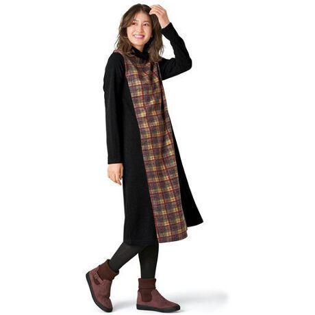 [型番:AO-1663]ニットソーの着心地ゆったりのワンピース。Aラインシルエットと、両サイドの切り替えですっきり見えます。チェック柄と無地のメリハリも効いてて◎~plump~(プランプ)~ふっくらサイズのおしゃれ服専門ブランド、『plump(プランプ)』。すっきりきれいに見えるデザインと、着心地のよさが自慢のアイテム満載!身につけたときの「あ、これいい!!」をぜひ体験してください♪