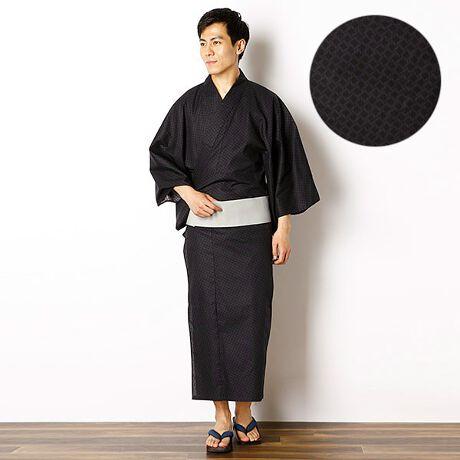 びさるの(浴衣)の綿セットゆかた(小紋調)/帯・ゆかたセット。小紋調の柄が雰囲気のある浴衣。帯とセットです。[型番:VY72TTY12RS]
