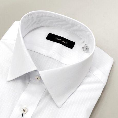 [型番:TADVV802N]ビサルノ(VISARUNO)の(形態安定加工生地)Yシャツ(綿50%・ポリエステル50%素材)【衿型】セミワイド綿のしなやかな着心地とポリエステルの丈夫で長持ちする特性を合わせた生地を使用しています。シワになりにくい形態安定生地使用で、ご家庭洗濯でのお手入れもラクチン。ネットに入れてお洗濯することをおすすめします。ドリップドライ(絞らずに吊り干し)が理想的ですが、脱水される場合は15秒~30秒程度でお願いします。脱水後は、形を整えてハンガーで干してください。